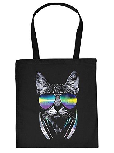 Ausgefallene Stofftasche in schwarz mit creativem Neon Motiv: DJ Cat - Coole Katze mit Sonnenbrille und Kopfhörer
