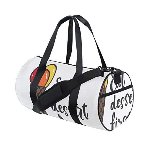 HARXISE Sporttasche Reisetasche,Lebensmittel Zitat mit bunten Kugeln des Eises auf Waffel Kegel Karikatur,Schultergurt Handgepäck für Übernachtung Reisen