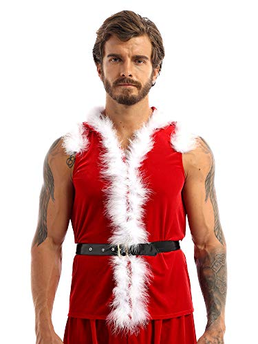 moily Men's Muscles Santa Claus Costume Faux Fur Hodded Waistcaot Vest with Belt for Christmas Party Red XX-Large
