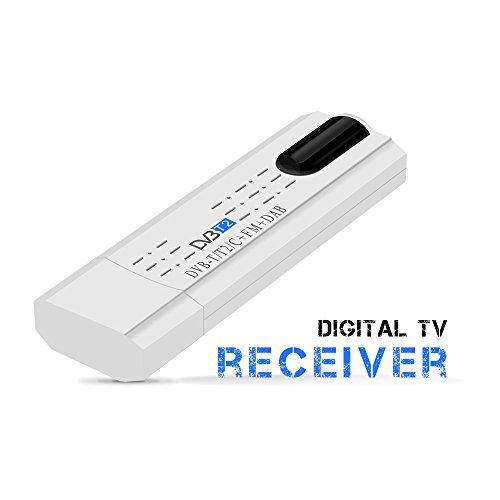EBILUN USB 2.0 DVB-T/T2 FM DVB-C sintonizador de TV Stick USB para PC/ordenador portátil Windows 7/8 blanco