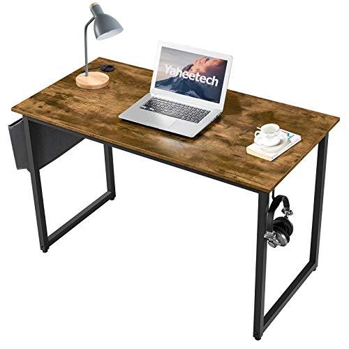 Yaheetech Escritorio Mesa para Ordenador 120 x 60 x 75 cm con Bolso Gancho Pasacables Estilo Vintaje Estructura de Metal de Marrón Rústico Mesa de Estudio de Computadora para Oficina Despacho Hogar