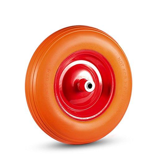 MAXCRAFT Kruiwagen Wiel met As van massief Rubber PU 4.80/4.00-8 Reservewiel band - Oranje/Rood