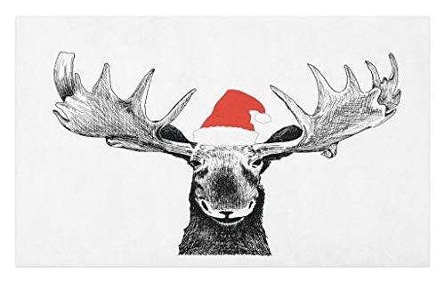 Lunarable Moose Doormat, Funny Christmas Moose with Antlers and Santa Claus Hat Xmas Celebrations Themed Print, Decorative Polyester Floor Mat with Non-Skid Backing, 30' X 18', Grey Red