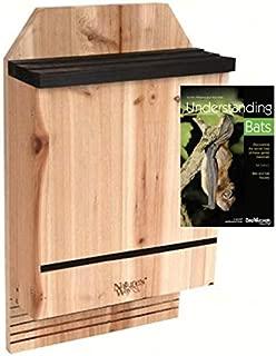 Nature's Way 3 Chamber Cedar Bat House for 300 Bats, Includes Book on Understanding Bats