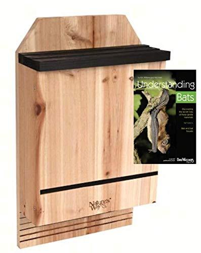 3 Chamber Cedar Bat House for 300 Bats, Includes Book on Understanding Bats