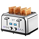 Toaster 4 Slice IKICH Toaster with Wide Slots, 2 Clear LCD Countdown Display on Both Sides, 6 Bread Shade Settings, Defrost, Reheat, Bagel and Cancel Function, Stainless Steel Toaster