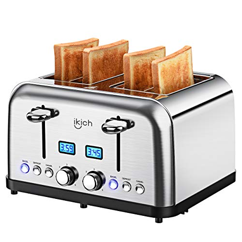 4 Slice Toaster, IKICH Prime Rated Toaster Stainless Steel [LCD Countdown] Toasters(6 Bread Shade Settings, Bagel/Defrost/Reheat/Cancel Function, 4 Slots, Removable Crumb Tray, 1500W, Silver)