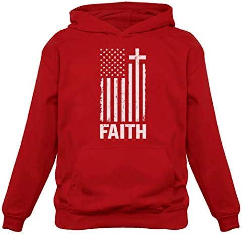TeeStars Christian Distressed White USA Flag Cross Have Faith Women Hoodie Medium Red product image