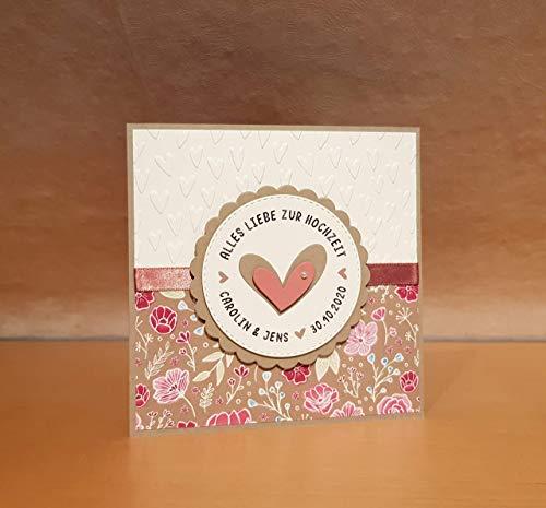 Hochzeitskarte, Hochzeits-Karte, Glückwunschkarte, Grußkarte, Karte zur Hochzeit, Namen und Datum personalisierbar, personalisiert, Handarbeit, handgemacht