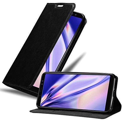 Cadorabo Hülle für Samsung Galaxy A8 2018 in Nacht SCHWARZ - Handyhülle mit Magnetverschluss, Standfunktion & Kartenfach - Hülle Cover Schutzhülle Etui Tasche Book Klapp Style