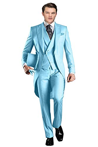 FittyTuxe Men's 3-Piece Classic Fit Double Breasted Plaid Suit for Men Dress Formal Wedding Suits(40 Regular,Blue)