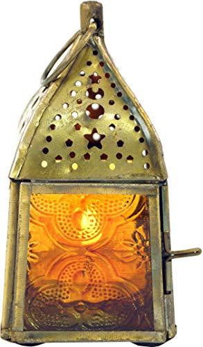 Guru-Shop Orientalische Metall/Glas Laterne in Marrokanischem Design, Windlicht, Mehrfarbig, 11x5,5x5,5 cm, Orientalische Laternen