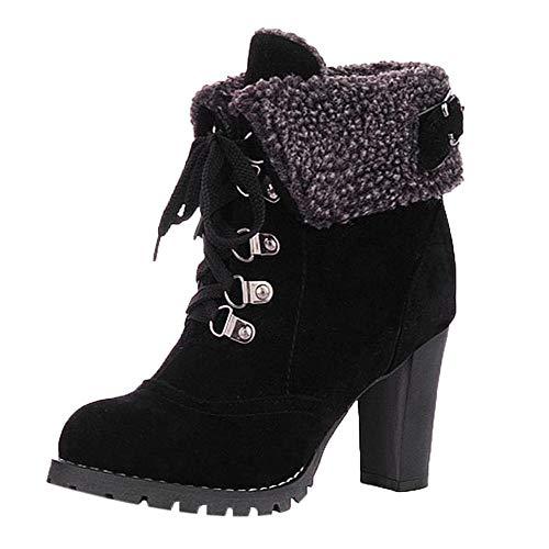 Ansenesna Stiefeletten Damen Mit Absatz Gefüttert Winter Warm Schuhe Wildleder Zum Schnüren Elegant Vintage Boots Für Frauen (43, Schwarz Wildleder)