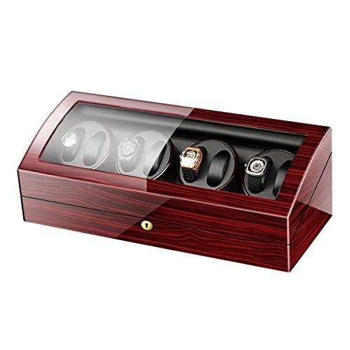 CCAN Enrollador de Relojes 8 + 9, de Madera, con Pilas, silenciosos, enrolladores de Relojes, Caja de presentación, Caja de Almacenamiento, Rojo