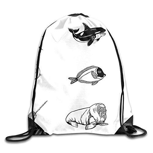 BXBX Sea AnimalPack Drawstring Backpack Bag Shoulder Bags Gym Bag for Adult