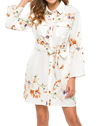 MINTLIMIT Freizeit Kleid Blusenkleid Damen Minikleid Hemdkleid Shirtkleid Langarm 3/4-Ärmel Wickeloptik Mit Gürtel Weiß Blumen S