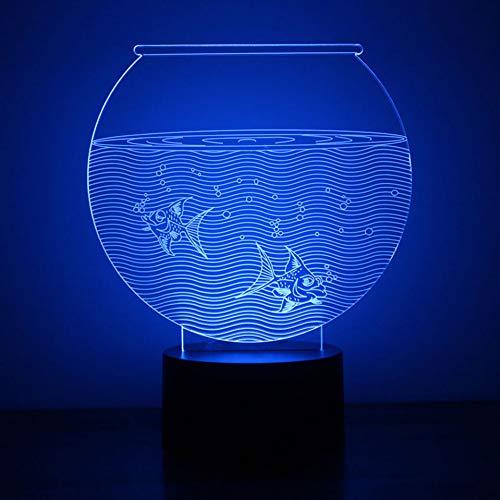 Laofan 3D LED Veilleuse Visuel USB Fish Tank Aquarium USB Lampe De Table Décor À La Maison Bébé Sleeping Lighting Fixtures Lampe,Interrupteur Tactile