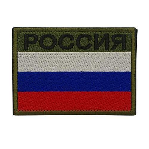 Cobra Tactical Solutions Bandera Rusa de Rusia Parche Bordado Táctico Moral Militar con Cinta adherente de Airsoft Paintball para Ropa de Mochila Táctica