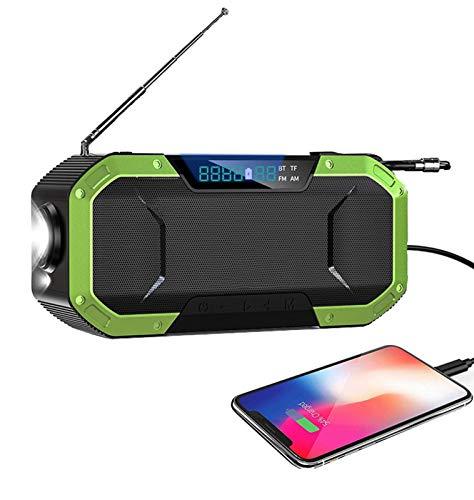 sZeao Radio De Emergencia Portátil 5000 Mah Solar Radio Am/FM Radio De Manivela Radio De Emergencia Recargable USB con Linterna LED Lámpara De Lectura, Alarma SOS Y Brújula