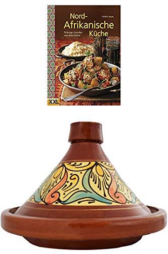 Marokkanische Tajine Topf zum Kochen + Kochbuch | Schmortopf glasiert Chaouen Ø 35cm 6-8 Personen | inklusive Rezepte Buch Nord Afrikanische Küche | ORIGINAL Tontopf handgetöpfert aus Marokko