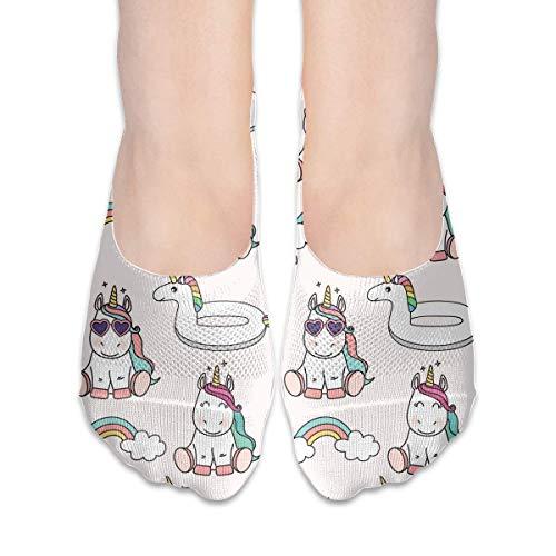 Calcetines para mujer con diseño de unicornio arcoíris y anillo de natación de corte bajo, calcetines invisibles