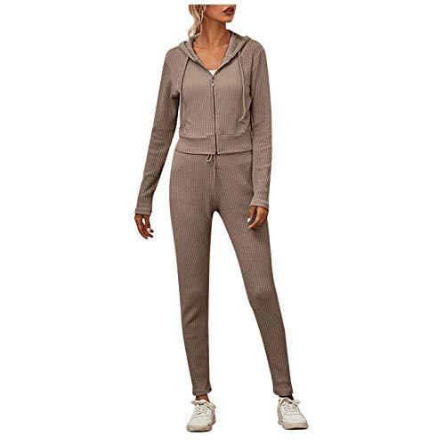 Xmiral Zweiteiliger Pajamas Anzug Sports Anzug Damen Einfarbig Langarm Streifen Hooded Tops + Kordelzug Elastic Taille Hosen(Kaffee,M)
