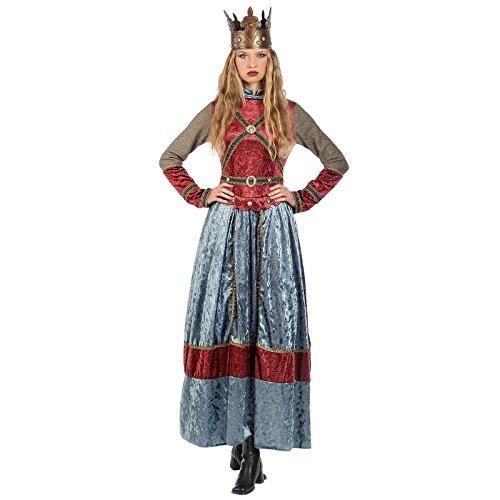 Elbenwald Vestido de la Reina Isabell Damenkostm con la Corona Azul Rojo - S