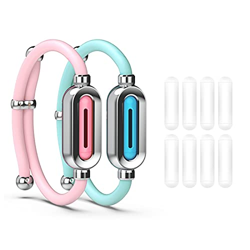 Waterproof Mosquito Repellent Bracelet Pure Herbal Extract Mosquito Repellent Wristband, Anti-mosquito Anti-bite Insect Repeller,Blue+Pink