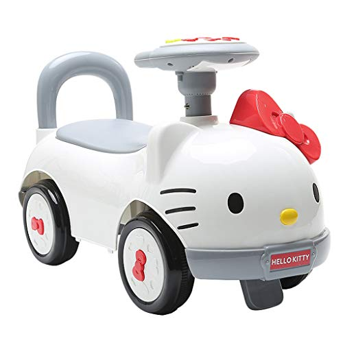 Carritos y sillas de paseo Hello Kitty Child Twisting Car 1-3-5 Años Scooter De Bebé NIU NIU Yo-Yo Sliding Music Car White Crossover Balance Storage Toy Car (Color : Blanco, Size : 68 * 28 * 37cm)