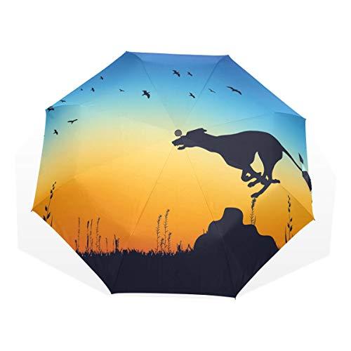 Regenschirm Hunter Whippet Chasing Rabbit 3 Folds Anti-UV Windproof Lightweight