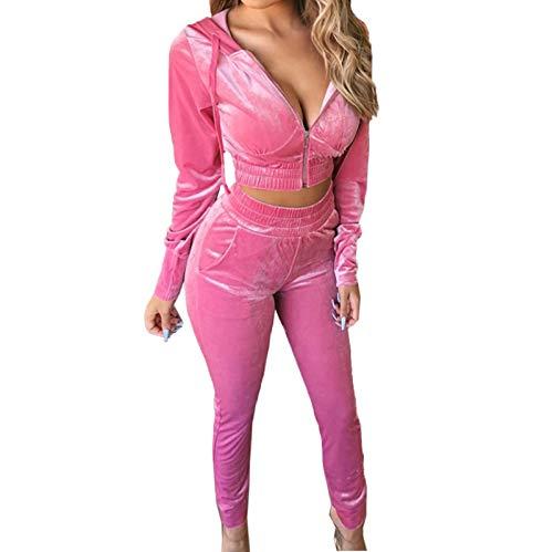 Women Velvet Tracksuit Set Zip Up Hoodie Jakcet Long Pants Jogging Suits 2 Piece Sweatsuit Outfits (Pink, M)