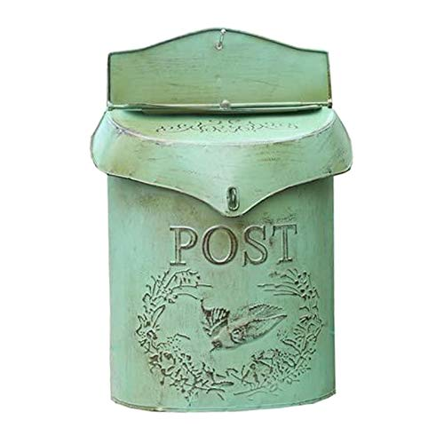 MagiDeal Wall Mounted Rustic Mailbox Metal Letter Decor Tin Post Box Holder Outside Hanging...