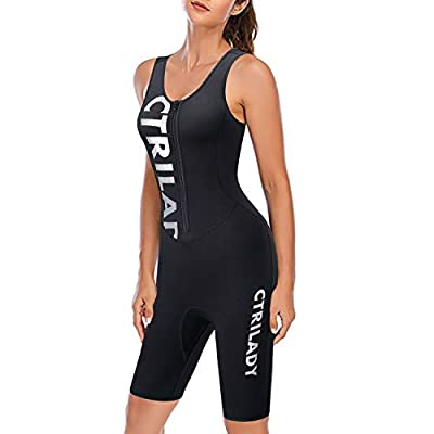 CtriLady Wetsuit Women 1.5mm Neoprene Shorty Wetsuit Sleeveless Vest Diving Suits with Front Zipper UV Protection Full Body Swimwear for Swimming Surfing Kayaking Snorkeling (Black, Medium)