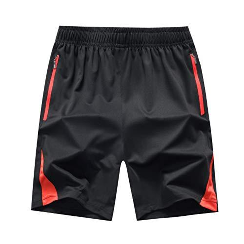 MOTOCO Schnelltrocknende Shorts für Herren Core Training Atmungsaktive Outdoor-Sportshorts Strand-Shorts Taschen-Badehose Badeshorts(8XL,Rot)
