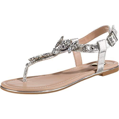 Buffalo Shoes Damen 14S07-21 Zehentrenner, Grau (Silver 000), 39 EU