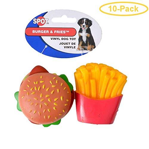 Hundespielzeug Hamburger & Pommes, Vinyl, 10 Stück