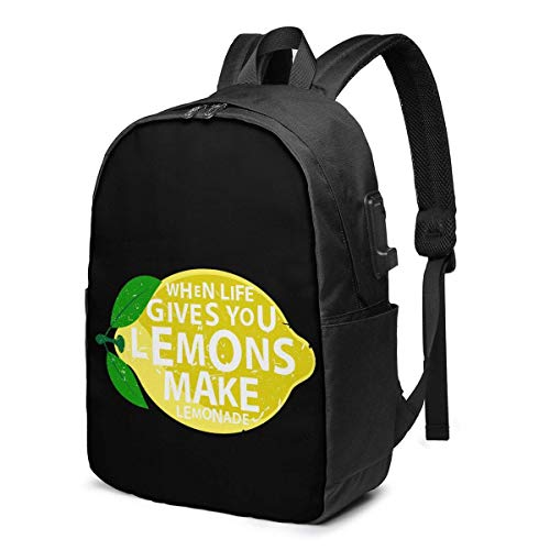 XCNGG Life Gives You Lemons, Make Lemonade Travel Laptop Backpack College School Bag Casual Daypack with USB Charging Port