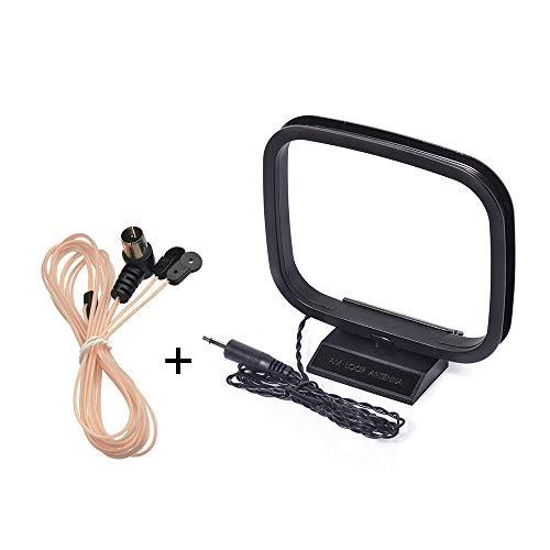 Bingfu UKW/FM Radio Antenne, 75 ohm Dipol Zimmerantenna mit F Stecker Adapter und AM/MW/LW Loop Antenne mit 3,5 mm Adapter für Bose Receiver Onkyo Denon Marantz Pioneer Stereo Receiver