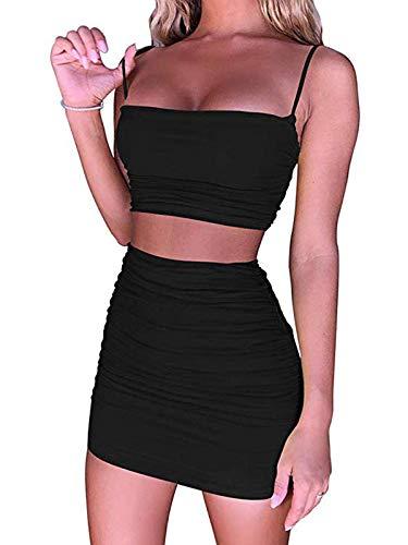 GARYOB Kleider Damen Sexy Minikleid Ärmelloses Kurz Wickelkleid Cami Crop Tops Zweiteiler Bodycon Party Cocktail Kleid
