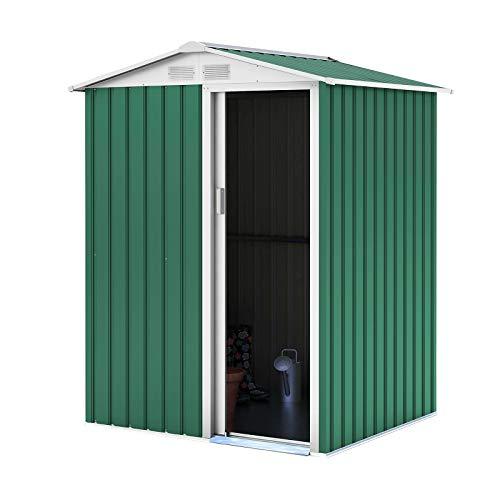 Gardiun KIS12137 - Caseta Metálica Milton 2 m² Puerta Deslizante Verde