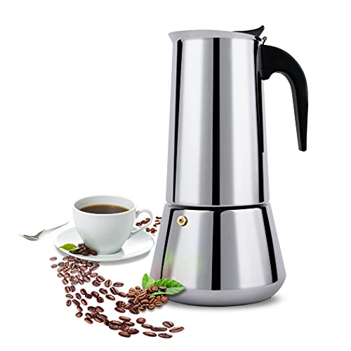FCUS Stovetop Espresso Maker, Moka Pot, 600ml/20oz/12 cup Percolator Italian Coffee Maker, Classic Cafe Maker, Stainless Steel, Suitable For Induction Cookers
