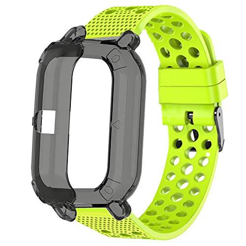 LvBu Kompatibel für Amazfit GTS Schutzhülle mit Displayschutz + Sport Silikonamrband, Flexibles TPU Vollschutz hülle (Schwarz hülle + Grün Armband)