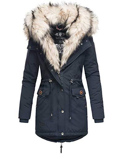 Navahoo 2in1 Damen Winter Jacke Parka Mantel Winterjacke warm Fell B365 [B365-Sweety-Navy-Gr.S]