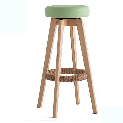 Chaises de barre, tabouret haut, tabouret de barre en bois plein à la maison, chaise européenne minimaliste moderne (Couleur : Vert clair, taille : 48 * 48 * 74cm)