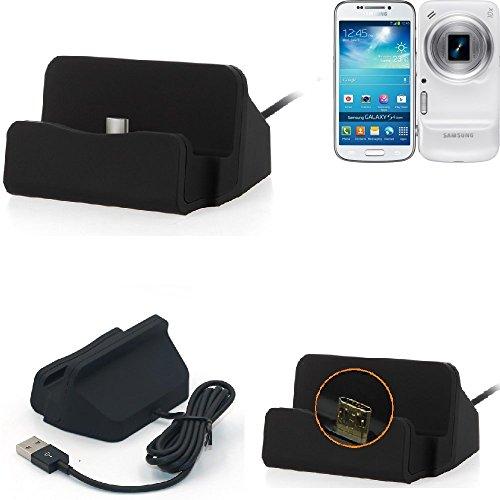 K-S-Trade Dockingstation Für Samsung Galaxy S4 Zoom Docking Station Micro USB Tisch Lade Dock Ladegerät Charger Inkl. Kabel Zum Laden Und Synchronisieren, Schwarz