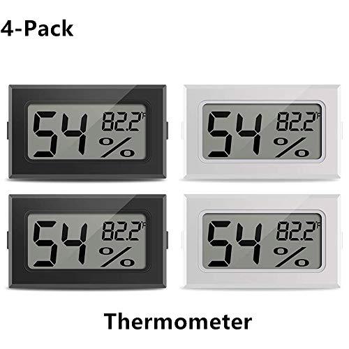 ZHITING Mini-Thermometer Hygrometer Digitales elektronisches Reptilien-Temperatur-Feuchtigkeitsmessgerät für Innenräume Messgeräte für Humidore, Gewächshaus, Keller, Kühlschrank, Schrank, 4er-Pack