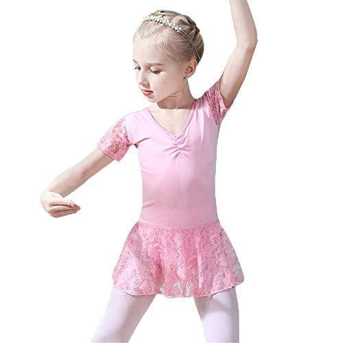 Tanzkleid für Mädchen, Kleine Mädchen mit kurzen Ärmeln Blumenspitze Patchwork Tanz Ballett-Ballettröckchen-Kleider Gymnastik Skating Performance Party Skirted Trikot Prinzessin Ballerina Dancewear Ko