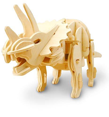 Madera Jigsaw Puzzle 3D Dinosaurios Montar Wood Craft Mejor Cumpleaños Niños para Adultos (Triceratops)