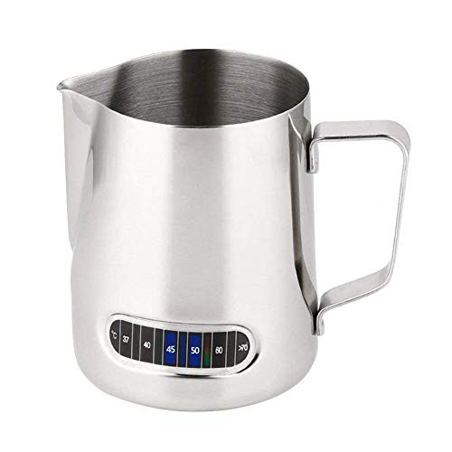 350ml Stainless Steel Milk Jug - Milk Frothing Pitcher with Thermometer - for Coffee, Cappuccino, Espresso, Latte Art