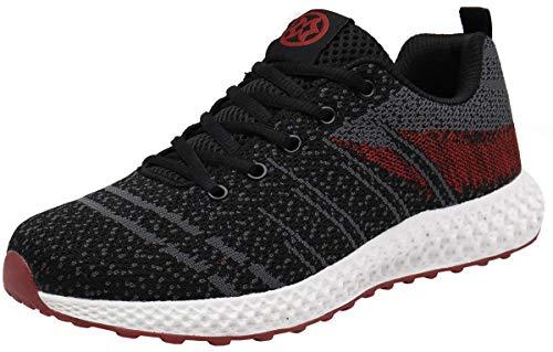 Gaatpot Zapatillas de Deporte Hombres Mujer Transpirables Running Sneakers Casual Correr Trail Gimnasio Zapatos Negro-Rojo 43 EU